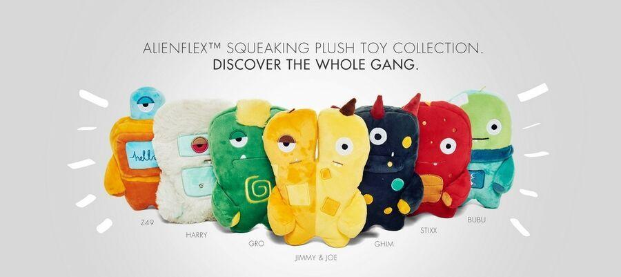 Alien Flex Plush Dog Toy With Squeaker Ghim Fun Soft Doy Toys