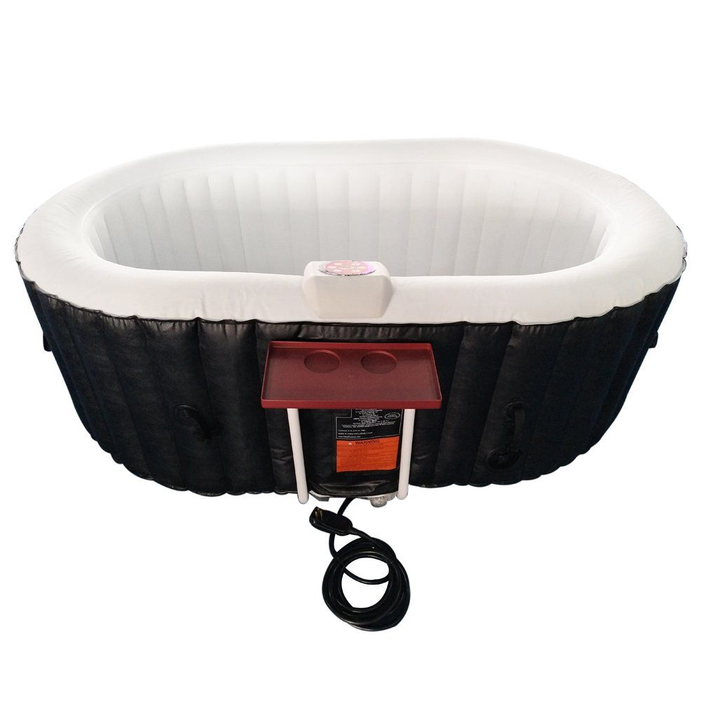 Aleko htio2bkw oval inflatable hot tub spa with drink tray