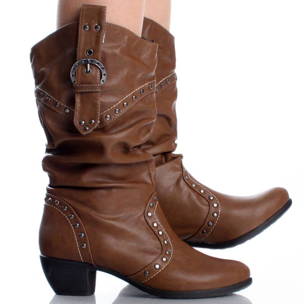 Brown Womens Cowboy Boots Western Cowgirl Roper Lady Faux Leather ...