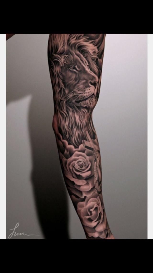 Tattoo Arm Sleeve Lion Roses Sleeve Tattoos Men Flower Tattoo Full Sleeve Tattoo