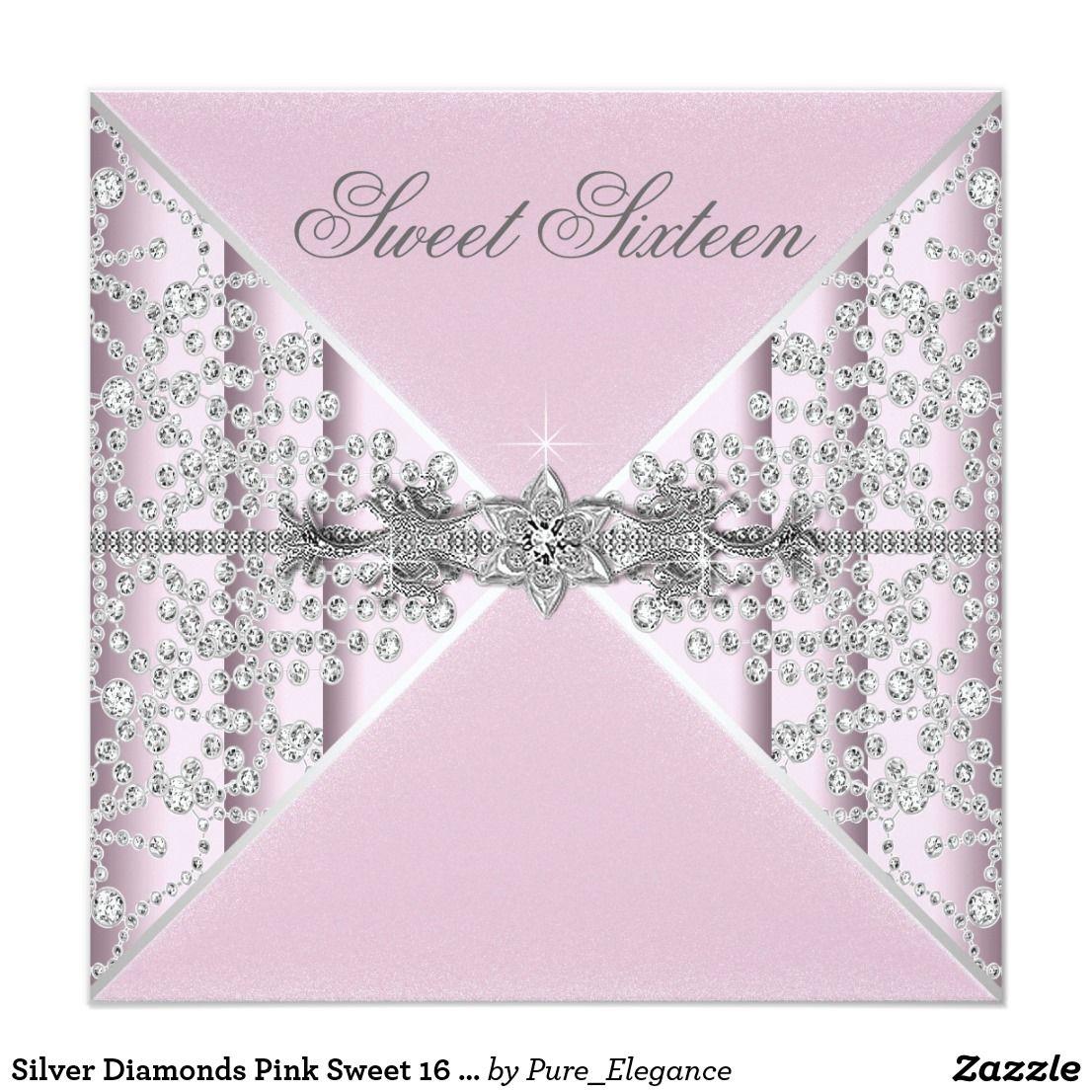 Silver Diamonds Pink Sweet 16 Birthday Party Invitation | Pinterest ...