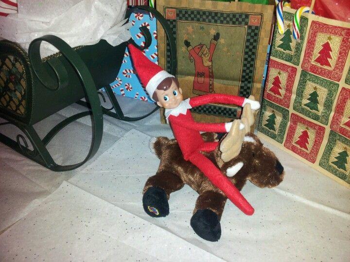 Elf riding the reindeer