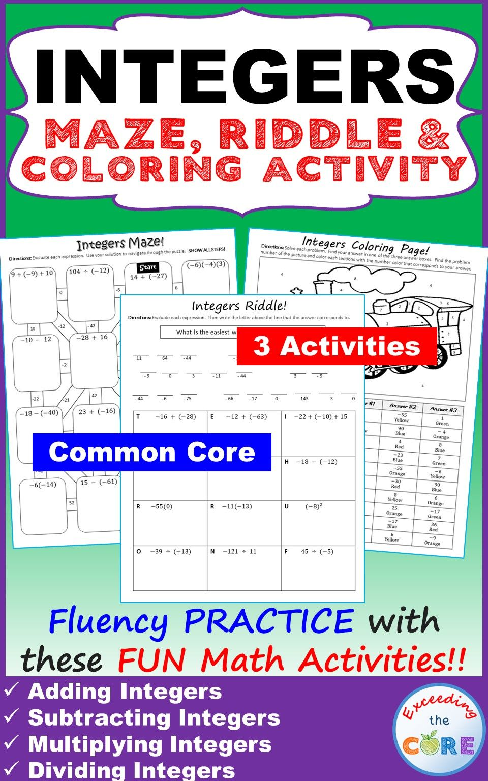 Worksheets Multi Operational Mathematical Maze integers maze riddle coloring page fun math activities mazeriddle have your students apply their understanding of with