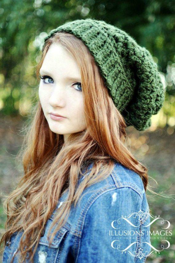 Dark Green Slouchy Beanie Crochet Beanie Oversized Beanie Hat for Women  Teen Hat Crochet Hats Green aae60722c25