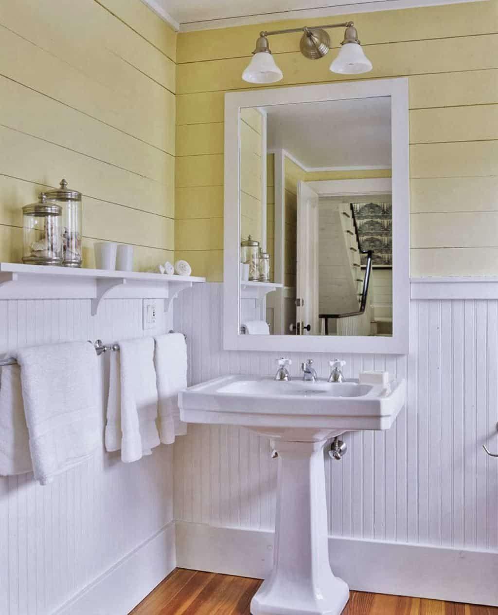 Beadboard Bathroom Wainscoting Beadboard Bathroom Small Bathroom Sinks Yellow Bathrooms