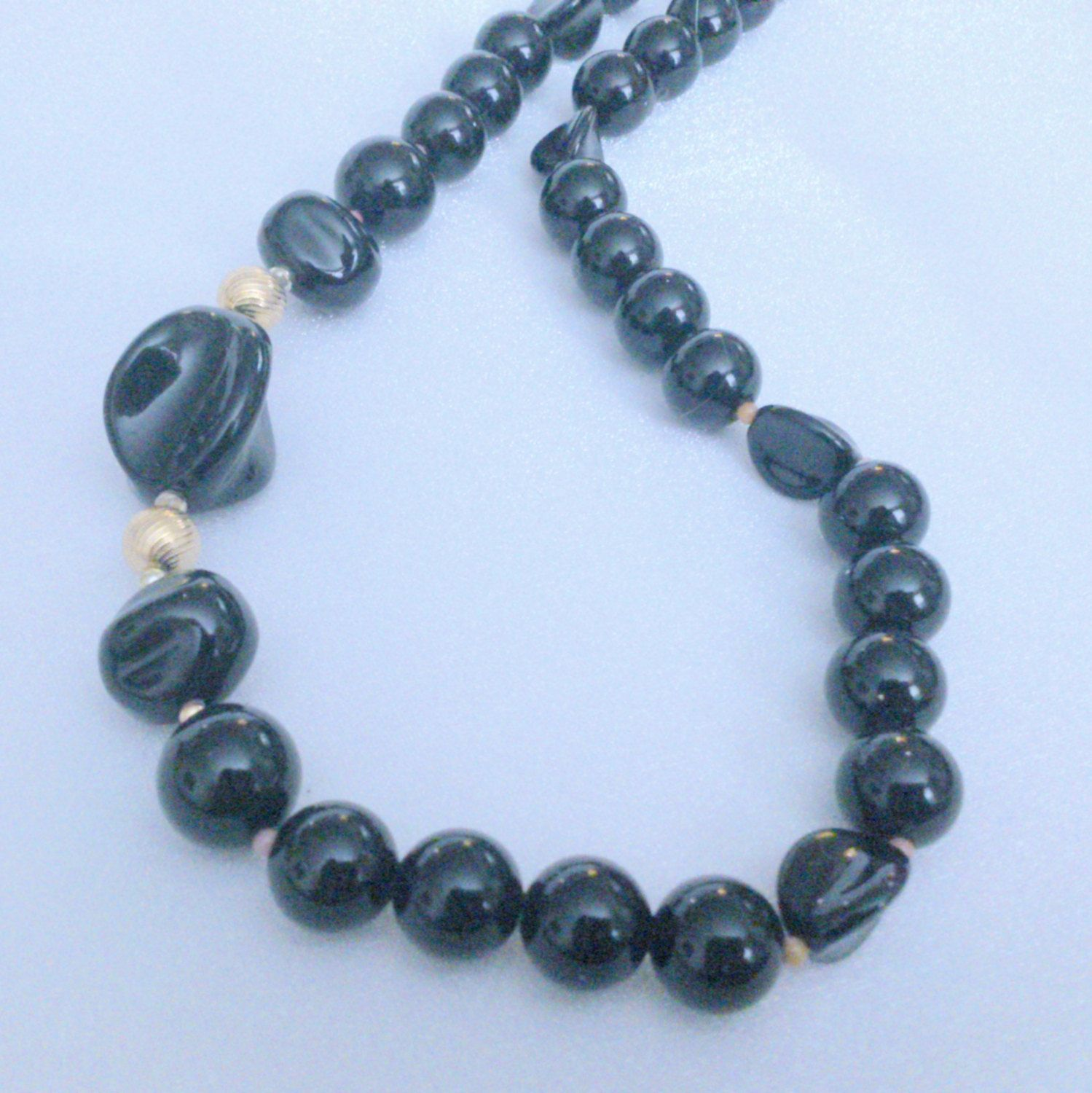 Vintage Chunky Black and Gold Plastic Beaded Necklace by BorrowedTimes on Etsy