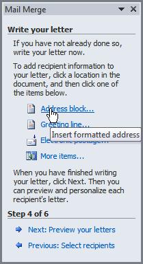 Inserting An Address Block  Office
