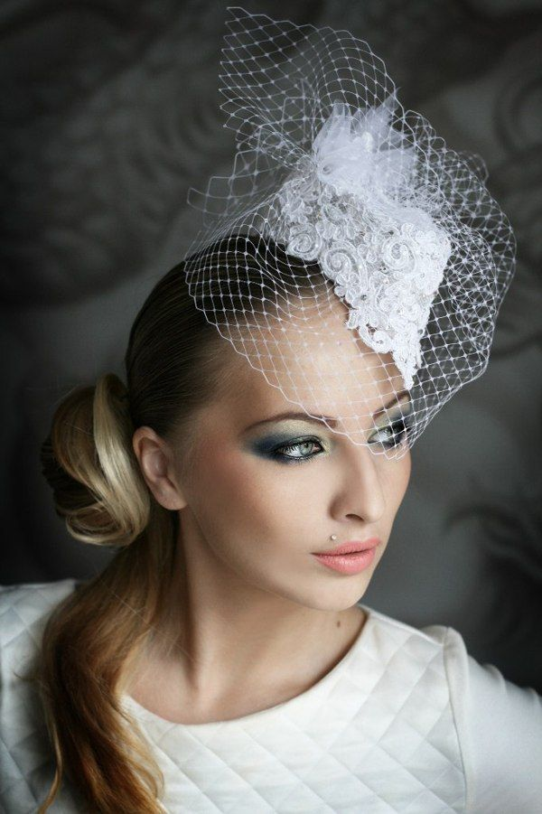 Little white lace hat with a veil  b270f2f02fd