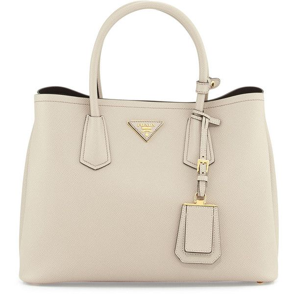 61da745ce63 ... authentic prada saffiano cuir small double bag 2680 liked on polyvore  featuring bags handbags light grey