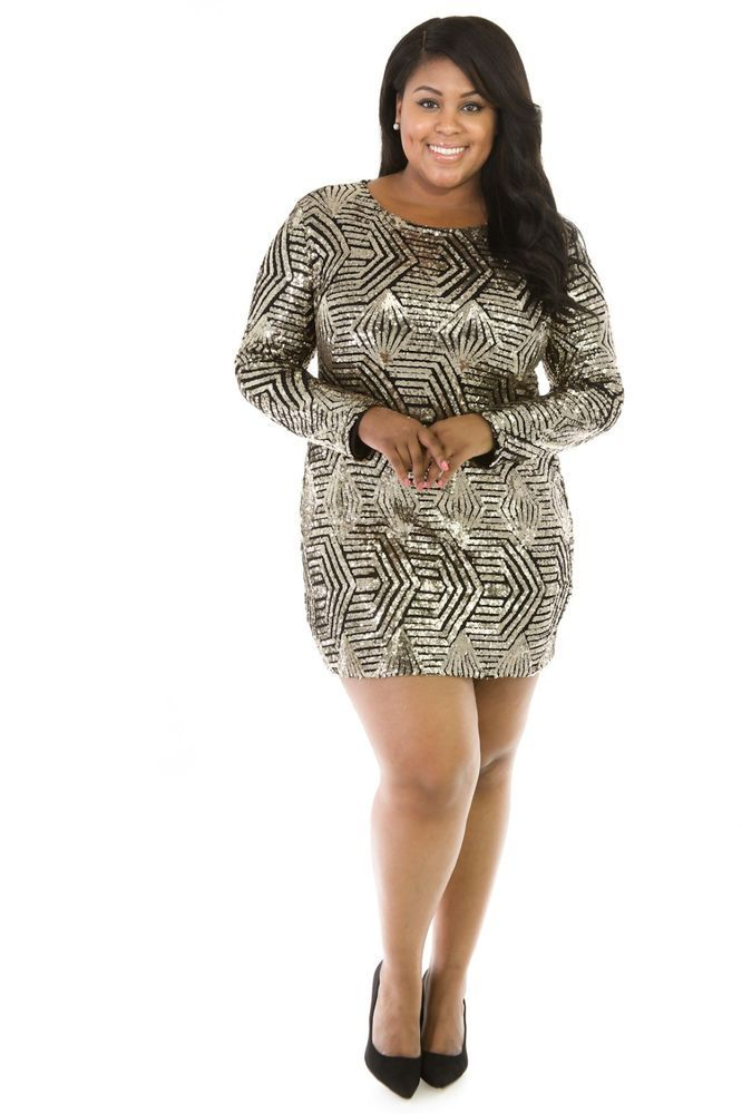 0649cef6619c Women's Sexy Plus Size Gold Sequin Bodycon Dress-NWT #other #StretchBodycon