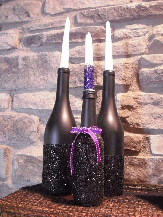 How To Decorate Wine Bottles For Halloween Halloween Candle Holders Made Out Of Wine A Beer Bottles