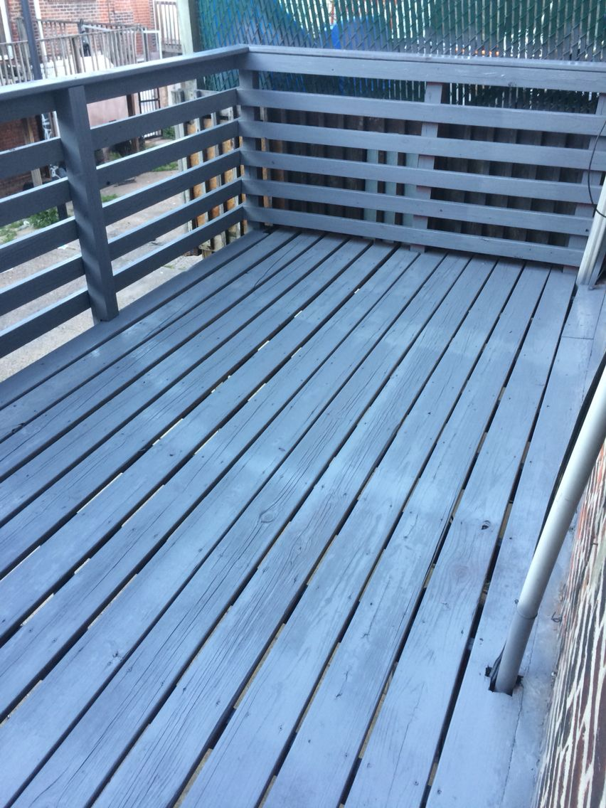 Painted Over A Red Deck With Sherwin Williams Super Deck Solid Tinted To Bm Ashland Slate One Coat Deck Paint Deck Colors Deck