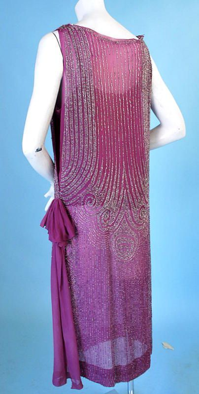 bb58e4244e4ba 1920 ART DECO BEADED MAGENTA SILK TABARD FLAPPER DRESS. Back