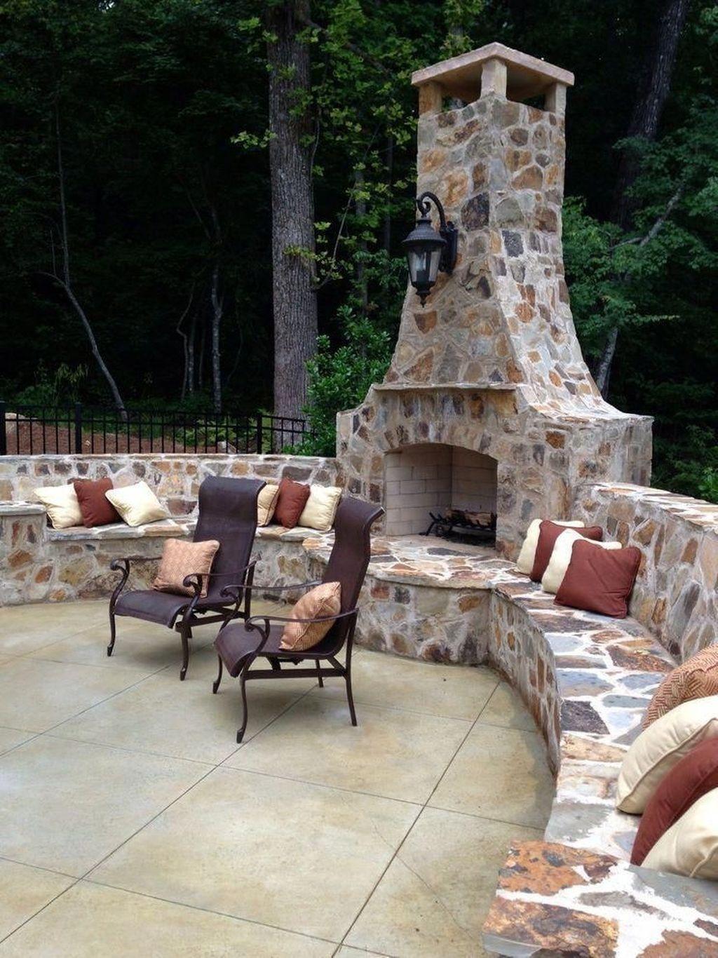 outdoor fireplace patio backyard