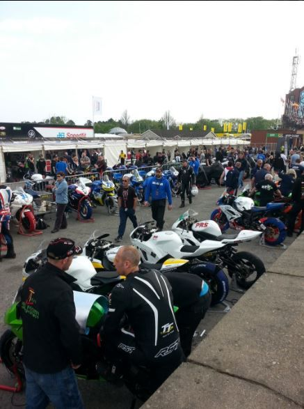 Busy pit lane during practice #TT