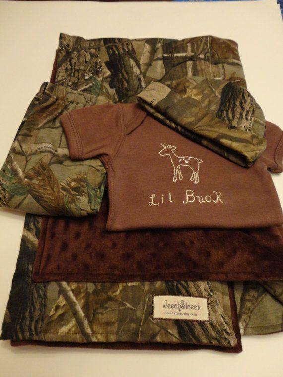 cd7d8268c3aa Little Buck Brown Realtree camo baby set  blanket pants onesie and ...