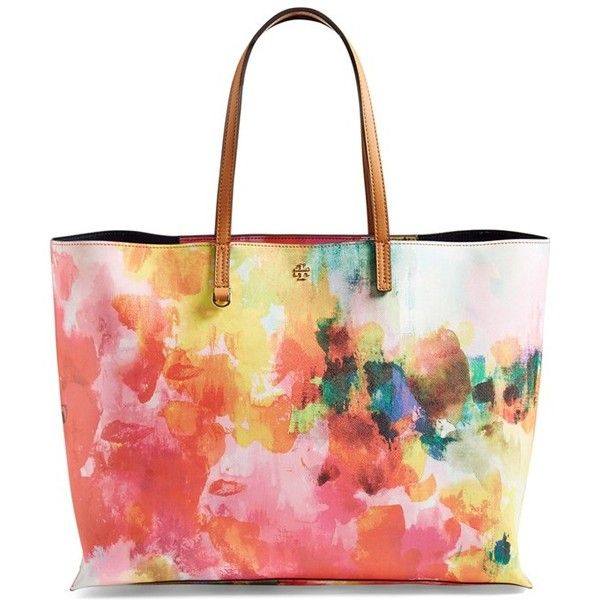 Tory Burch 'Kerrington Square' Tote (2 530 SEK) ❤ liked on Polyvore featuring bags, handbags, tote bags, watercolor floral, tory burch handbags, white purse, man bag, tory burch purse and white tote bag