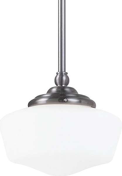 Fluorescent Pendant Fluorescent Academy Small One Light Pendant In Brushed Nickel With Satin White Schoolhouse Glass Pendant Lighting One Light Fluorescent