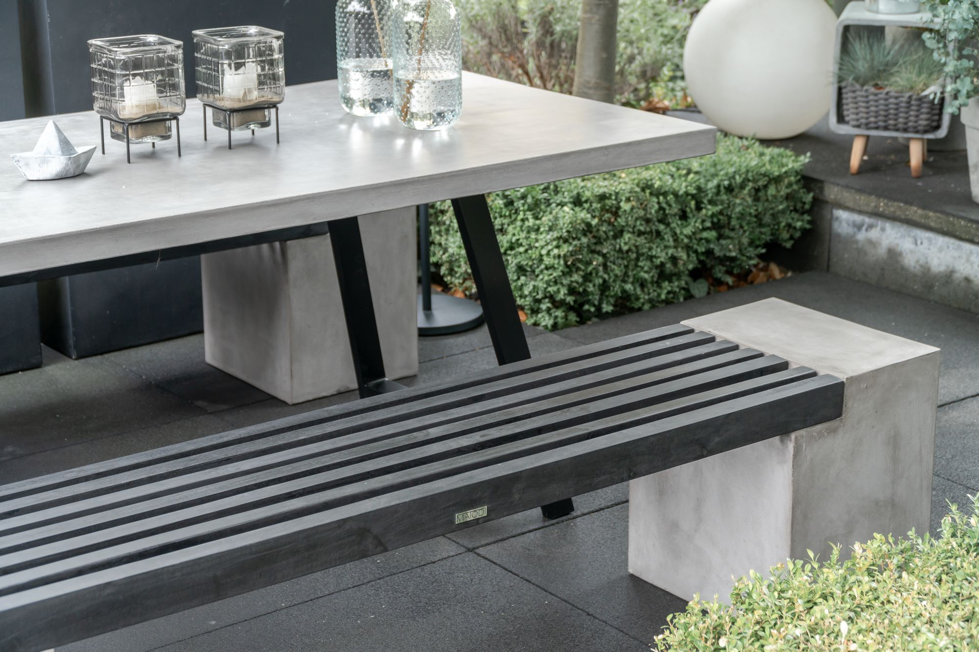 Novum Betonbank Gartenbank Akazienholz 200 Cm In 2021 Terrasse Sitzgruppe Terrassentisch Gartentisch Betonoptik