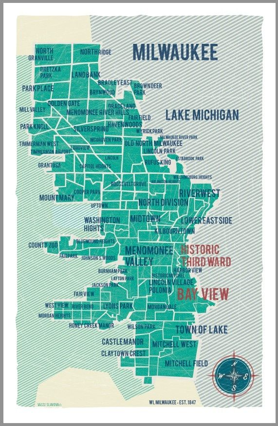 Milwaukee Neighborhood Map Milwaukee Neighborhoods. Love the overlay/screen printing effect