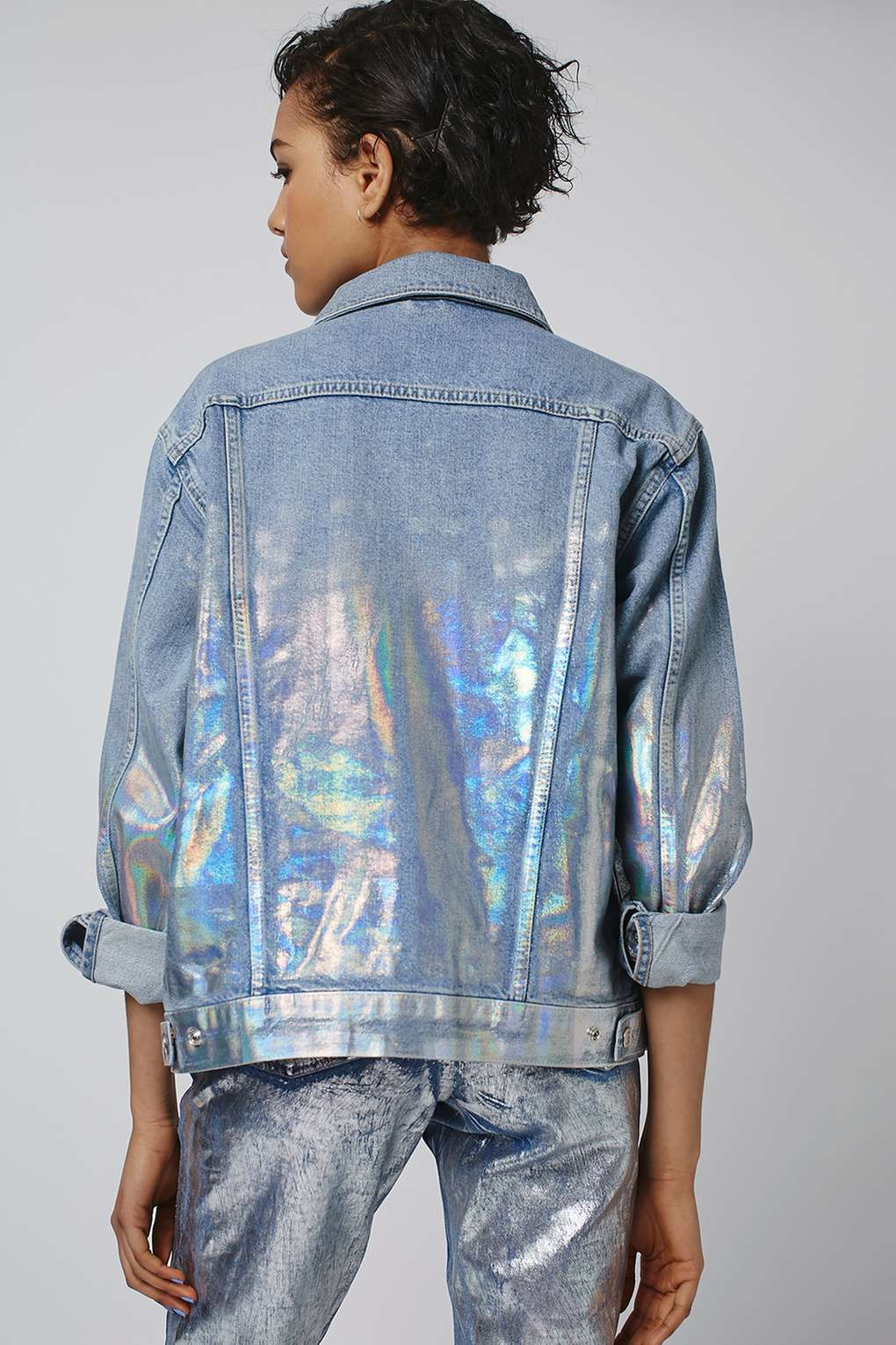 MOTO Foil Oversized Jacket Denim outfit, How to wear