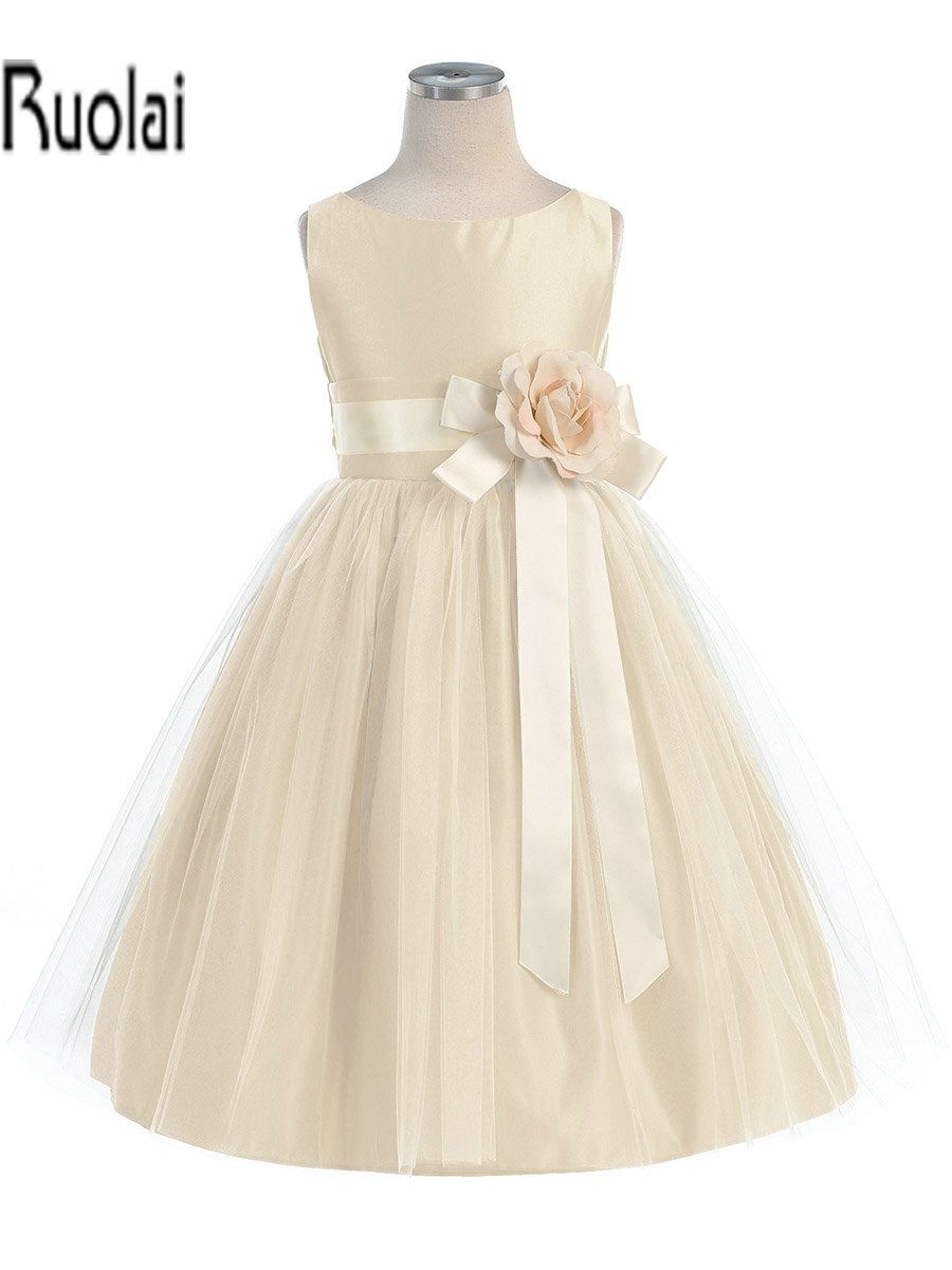 >> Click to Buy << Little queen champagne vintage satin tulle flower girl dress for wedding 2015(FLYA-1003) #Affiliate