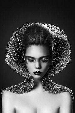 Black and White fashion dark headdress Futuristic avant garde dark fashion futuristic fashion misanthropic messiah misanthropicmessiah http://misanthropicmessiah.tumblr.com/