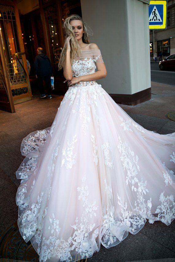 d25ea635fab76 Glamorous wedding dress Jane by Olivia Bottega with trail. Soft tulle wedding  dress. Lace with eleme