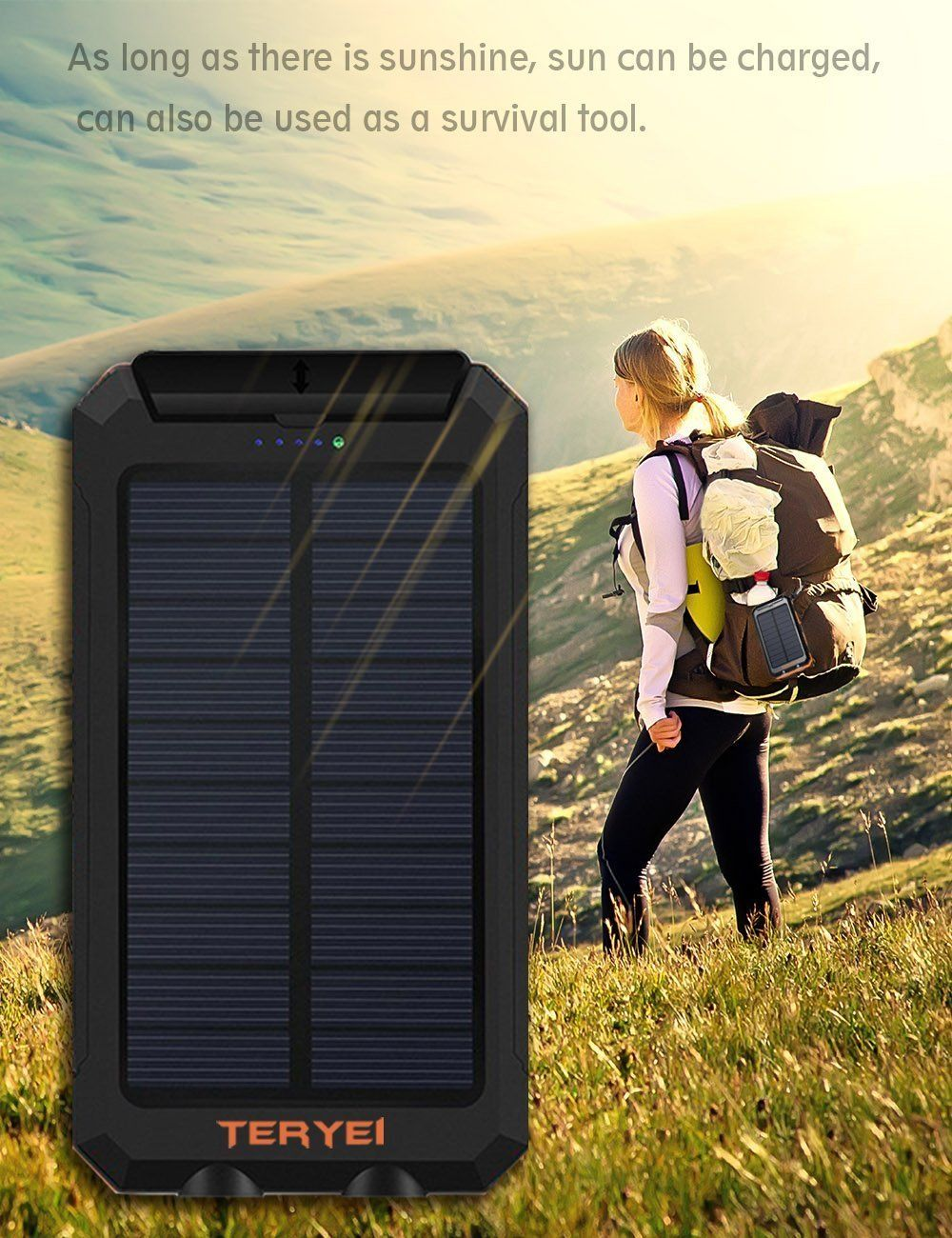Solar Charger Teryei Solar Power Bank 15000mah External Backup Outdoor Cell Phone Battery Charger Wit Solar Power Bank Cell Phone Battery Charger Solar Charger