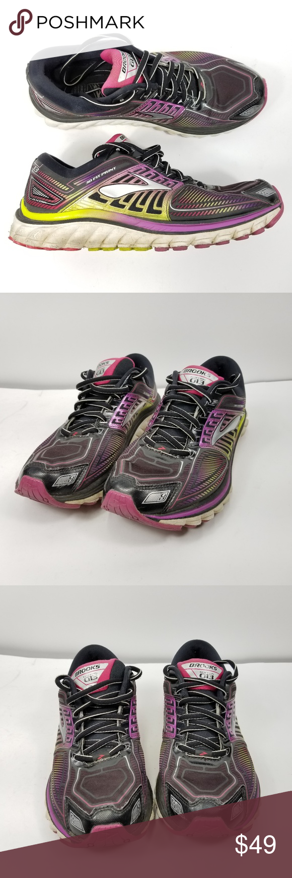 2e00de6bcb0 Brooks Glycerin 13 Running Shoes Sz 9 B MultiColor Brooks Glycerin 13  Running Shoes Sz 9 B Black Multi Color 1201971B019 Womens Fair Condition!