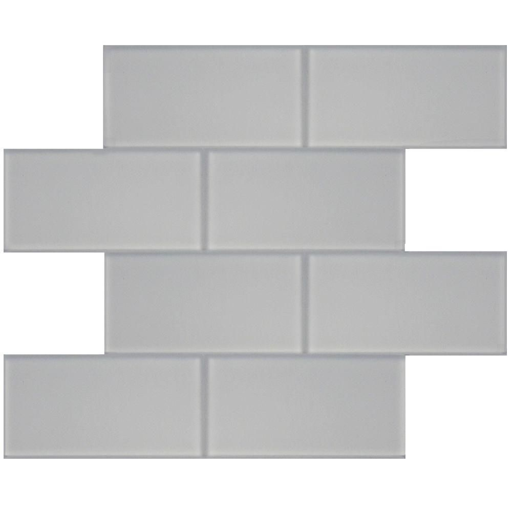 Splashback Tile Contempo 3 in. x 6 in. Bright White Frosted Glass ...
