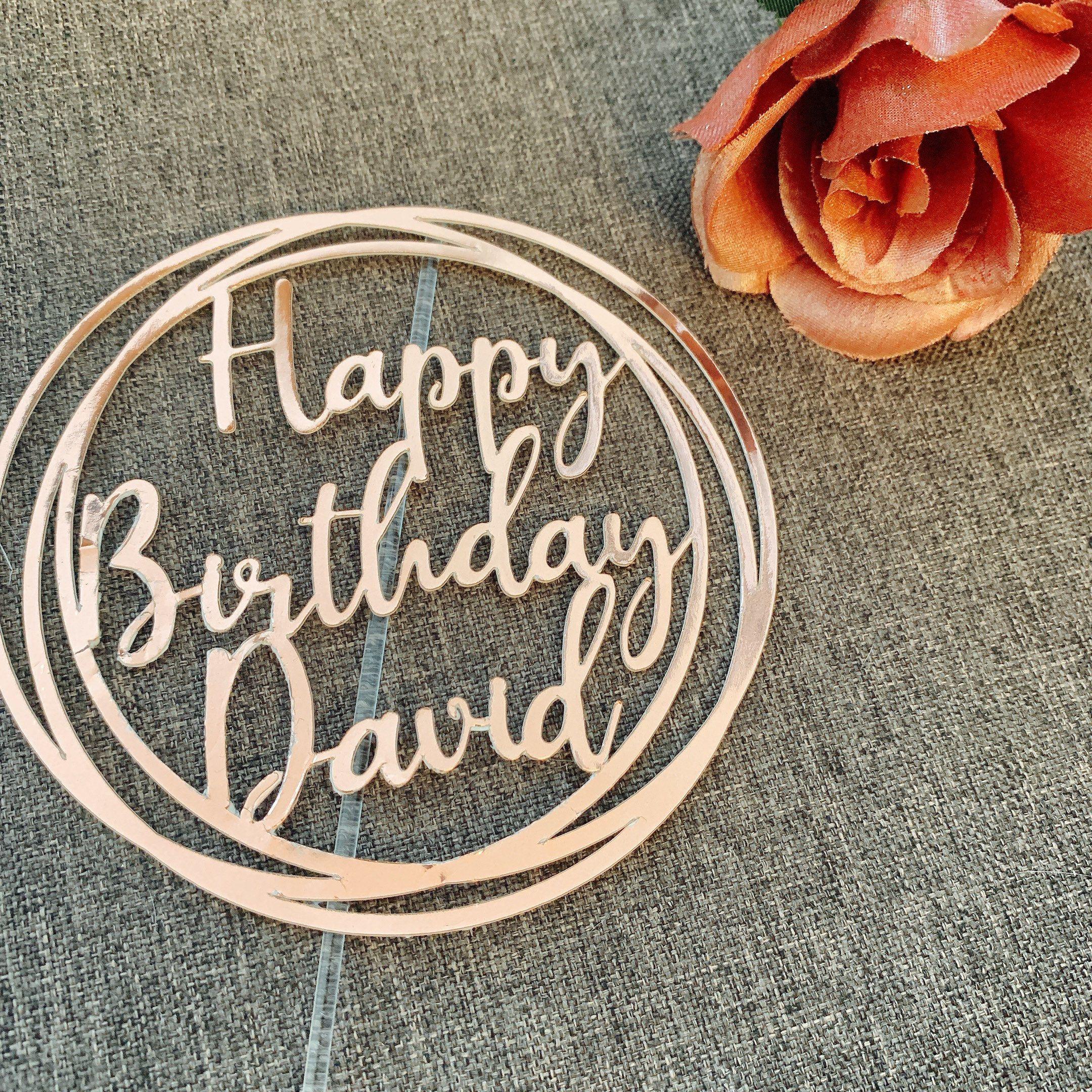 Happy Birthday Custom Name Cake Topper 1st Birthday 2nd Birthday Personalized Name Topper Modern Circle Cake Topper