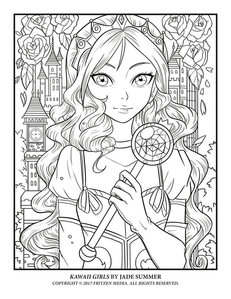 Download A Free Page To Color From Kawaii Girls Drive
