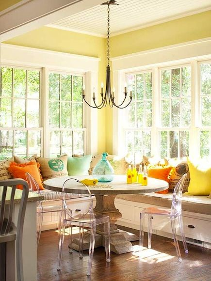 breakfast nook, lucite chairs, colorful
