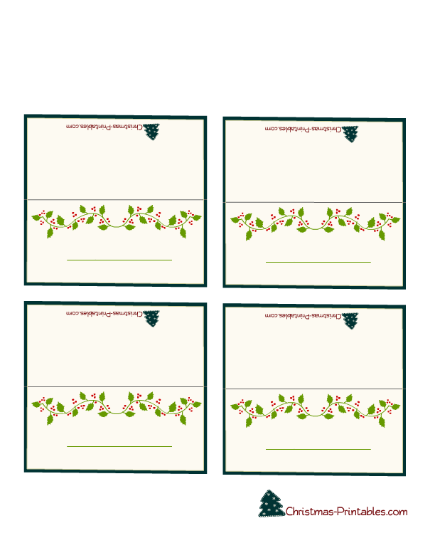 Free Printable Christmas Place Cards Free Christmas Printables Christmas Place Cards Holiday Place Cards
