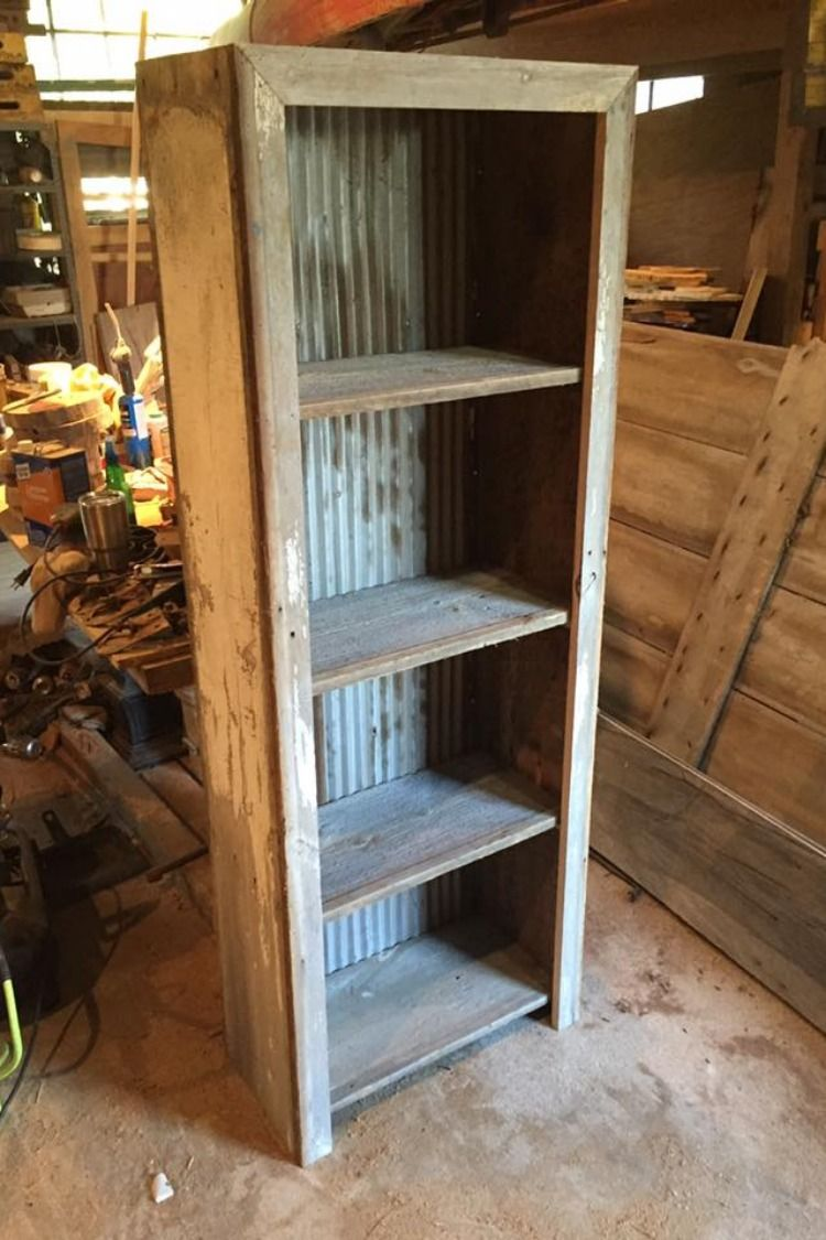 Corrugated Metal And Barn Wood Shelf Plans Old Barn Wood