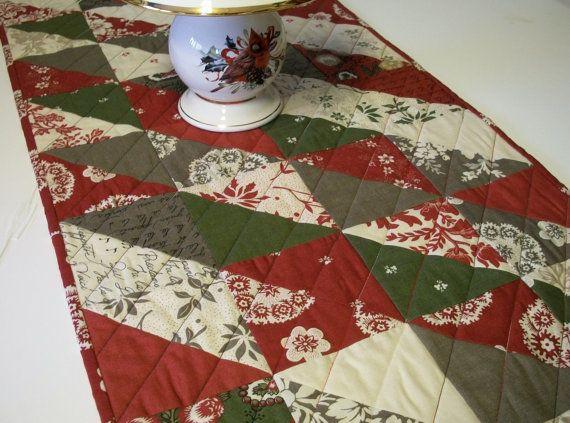 Christmas Table Runner Quilted Fa-la-la-la-la Winter Holiday ...