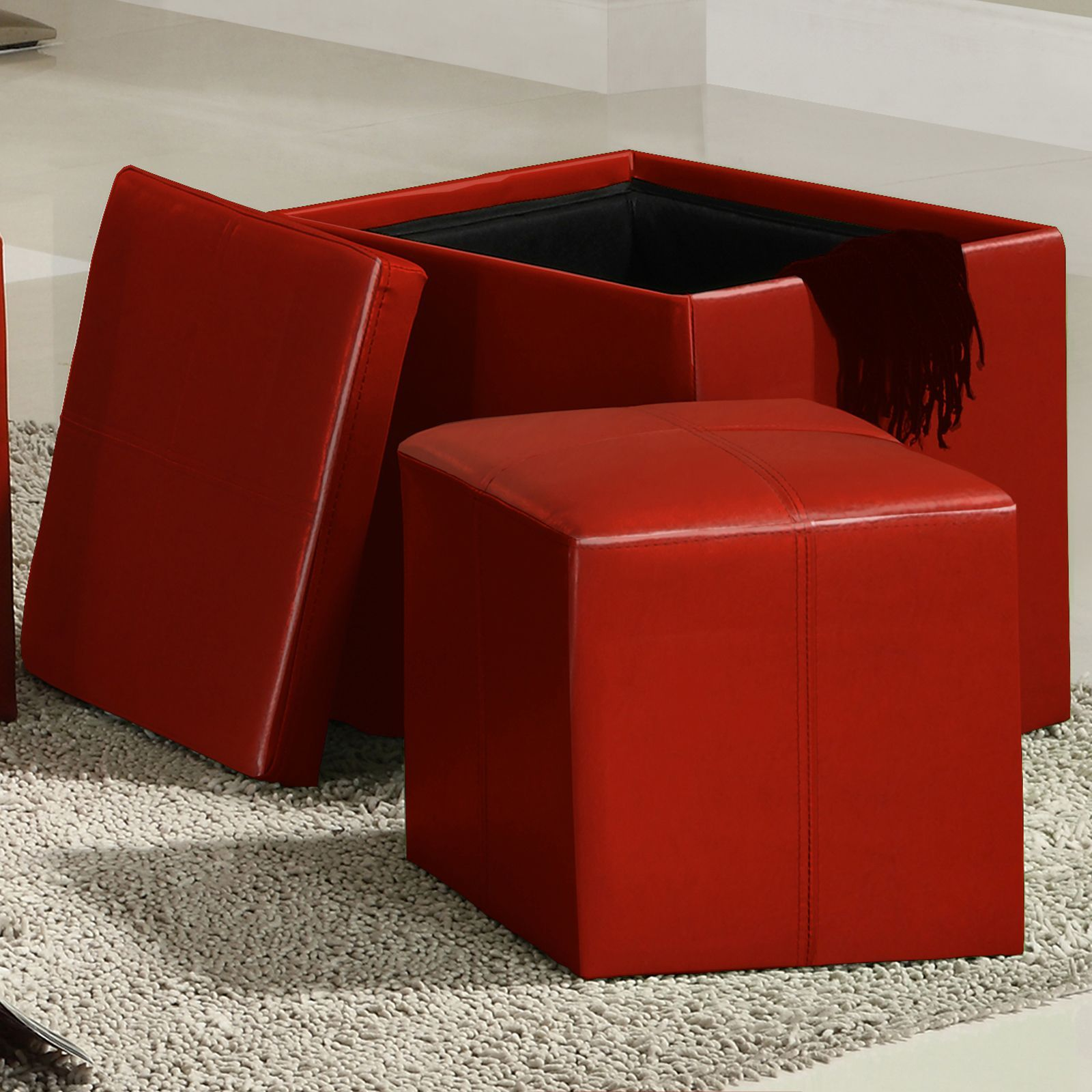 Swayne Red Storage Ottoman with Mini Foot Stool by INSPIRE Q by iNSPIRE Q