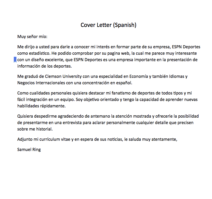 Spanish Cover Letter Sample Cover Letter (Spanish) Muy señor ...