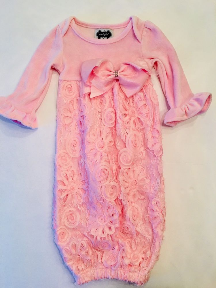 🎀Mud Pie 3-6m Baby Pink Velour Lace Dress Floral Gown Christening ...