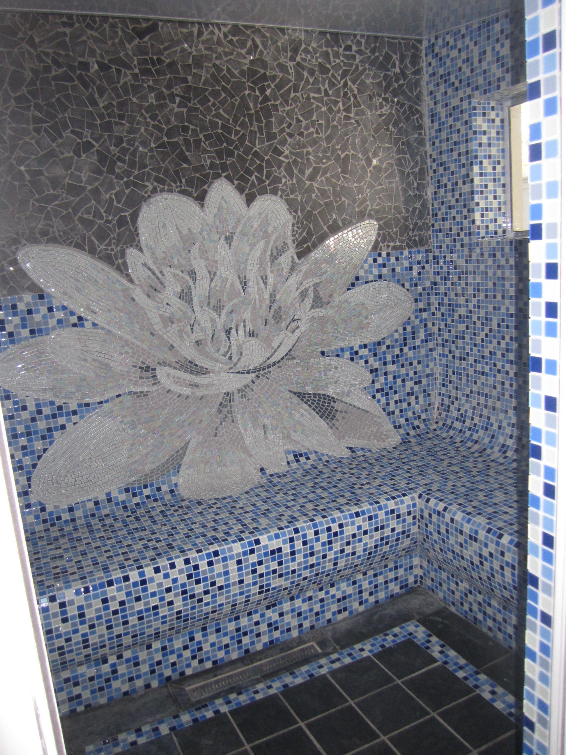 Lotus Flower In Mosaic Sauna Completed Ruark Du Toit Mosaic Art