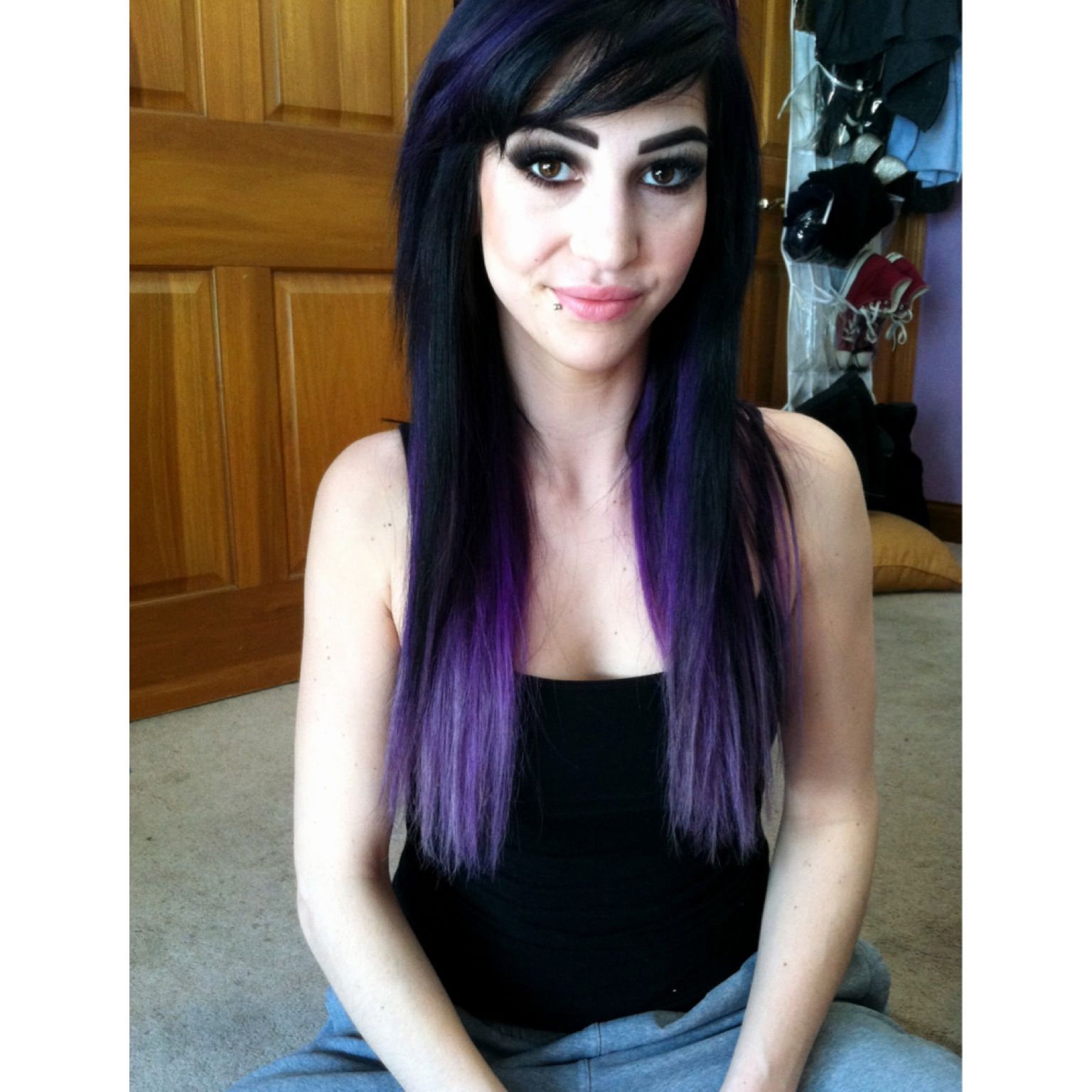 black to purple to lavender ombr bright hair color using pravana vivids in purple and 09v - Coloration Hnn