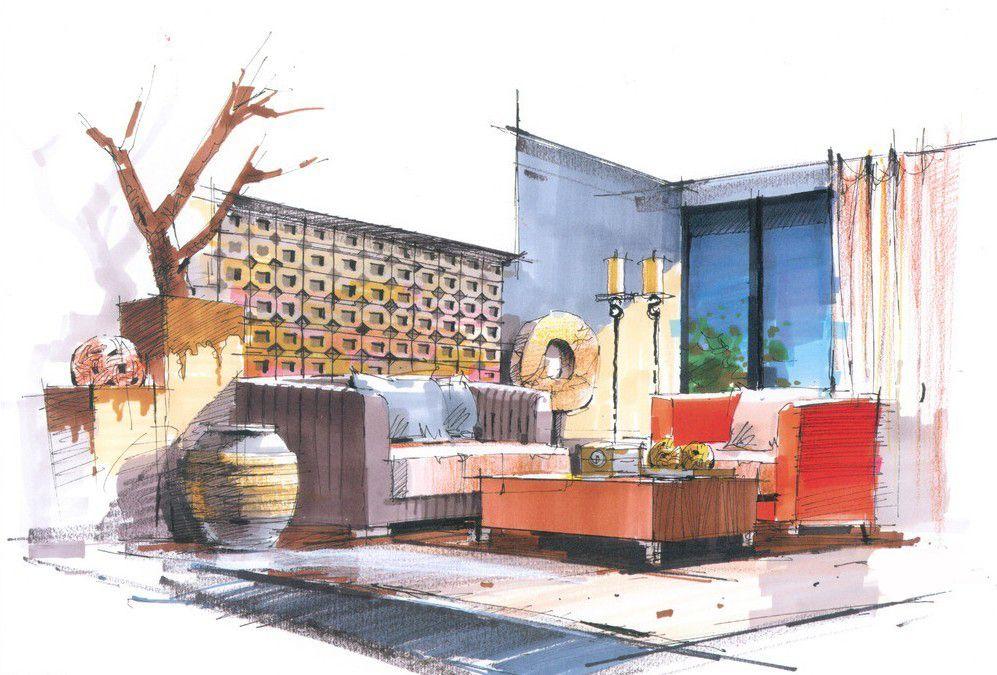 Interior design hand renderings google search interior - Hand drafting for interior design ...