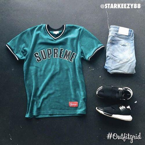Today's top #outfitgrid is by @starkeezy88.  ▫️#Supreme #Jersey  ▫️#HM #Denim  ▫️#Y3 #Qasa #flatlay #flatlays #flatlayapp www.flat-lay.com