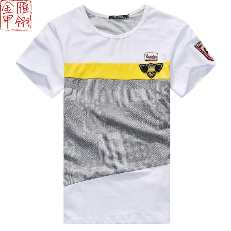 Gold fashion male short-sleeve 2013 male t-shirt casual slim men's clothing