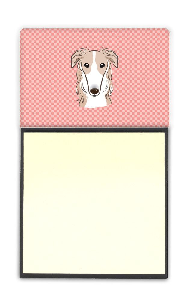 Checkerboard Pink Borzoi Refiillable Sticky Note Holder or Postit Note Dispenser BB1228SN