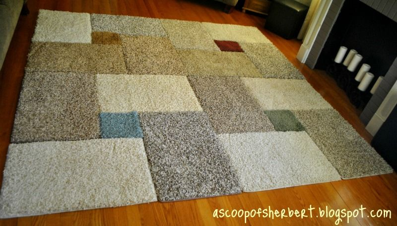Diy area rug on a budget and using carpet samples #homedocorating.