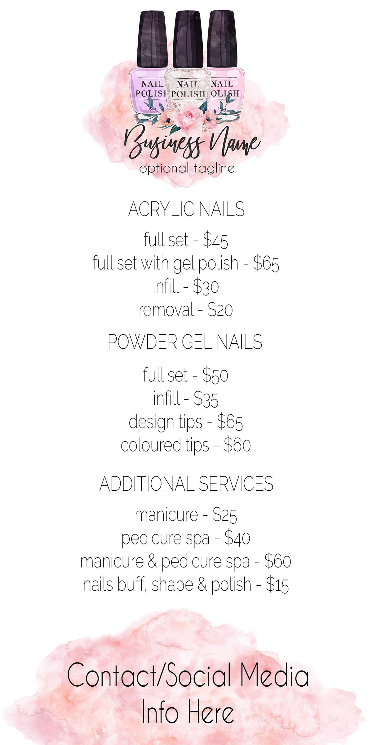 Nail Polish Price List, Nail Tech, Nail Technician, Salon
