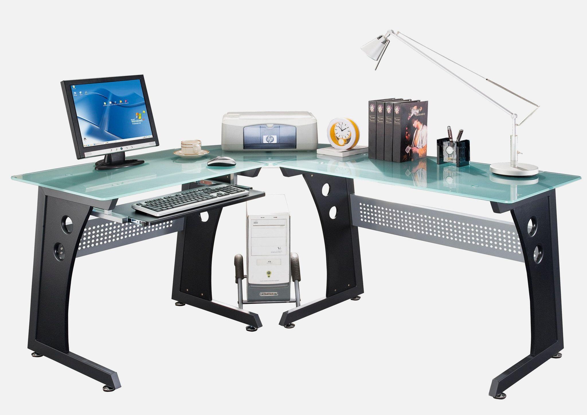 Bon Techni Mobili Glass L Shaped Computer Desk