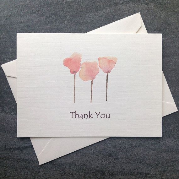 Watercolour Thank You Card Set Free Shipping To Canada Us Simple